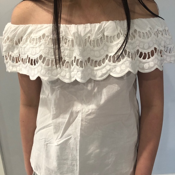 Zaful Strapless White Top with Lace Detailing